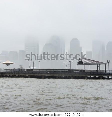 New York City skyline on a rainy day - stock photo