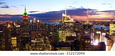 New York City skyline panorama at dusk - stock photo