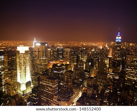 New York City skyline panorama at night - stock photo