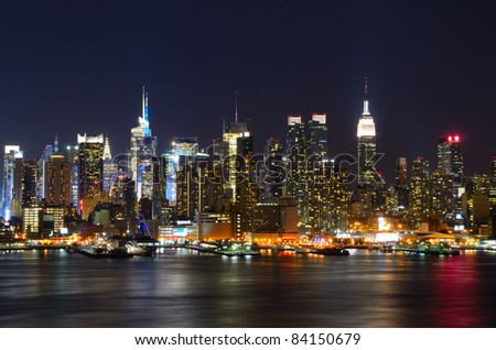 New York City skyline viewed from Weehawken, New Jersey. - stock photo