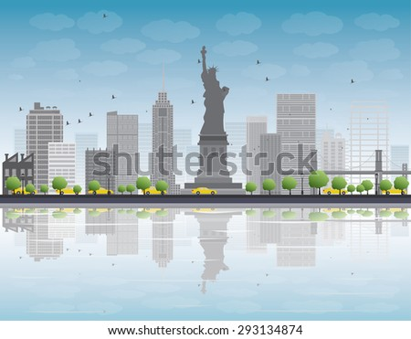 New York city skyline with grey building and blue sky. Business travel and tourism concept with place for text. Image for presentation, banner, placard and web site