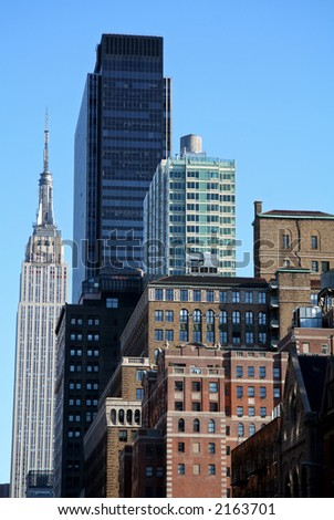 New York City Skyline with Landmark and Apartment Buildings - stock photo
