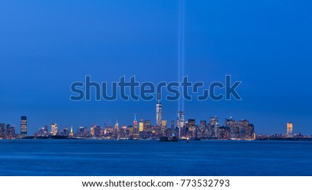 Tribute In Light Stock Images RoyaltyFree Images Vectors - Two beams light new yorks skyline beautiful tribute 911