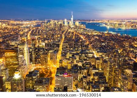 New York City skyline with urban skyscrapers at dusk, USA. - stock photo