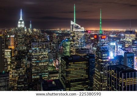 New York City skyline with urban skyscrapers at night