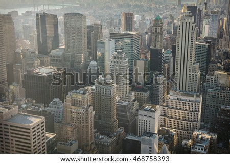 New York City skyline with urban skyscrapers, Manhattan office buildings, USA