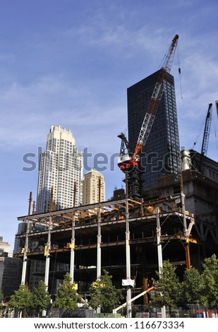 new york city skyscraper construction in the late afternoon - stock photo