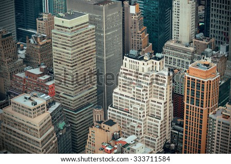 New York City skyscrapers aerial urban view.