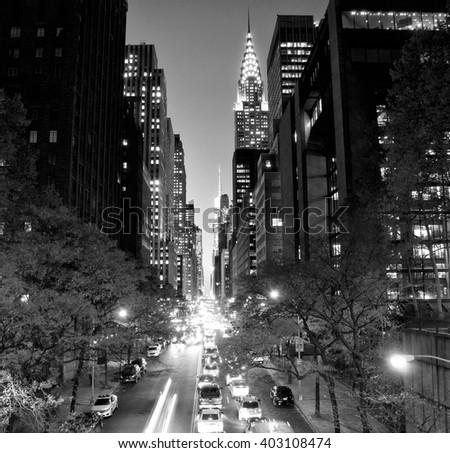 New York City skyscrapers from Tudor City, USA - stock photo