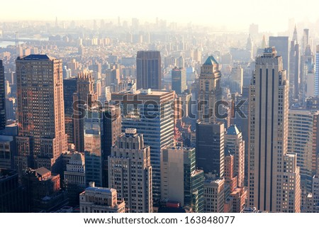 New York City skyscrapers in midtown Manhattan aerial panorama view in the day.