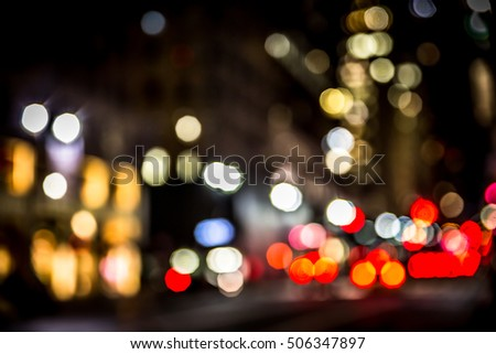 New York City street lights defocused abstract blur at night