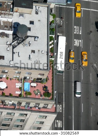 new york city streets, sky view