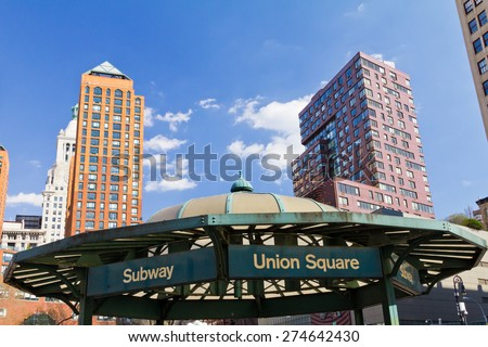 NEW YORK CITY - Subway entrance in Union Square Park - stock photo