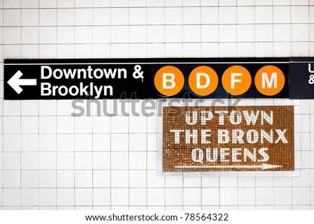 New York City subway sign - stock photo