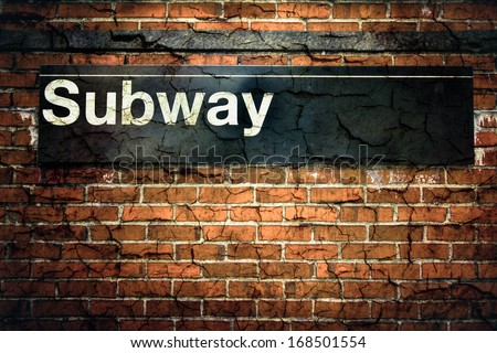 New York City subway sign with grunge texture - stock photo