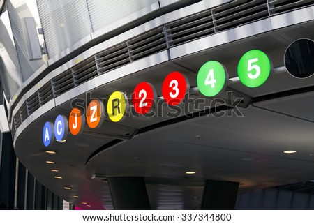 New York City subway station sign in Manhattan - stock photo