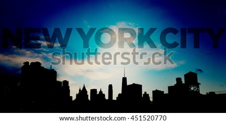 New York City Text in Blue Sky Above Panoramic Downtown Skyline - stock photo