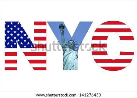 New York City text written with picture of Statue of Liberty and USA flag - stock photo