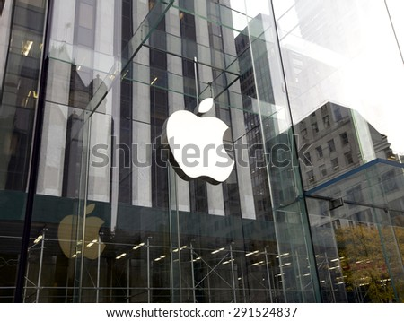 New York City, United States America - November 15, 2013: Glass entrance to the Apple Store in New York, United States