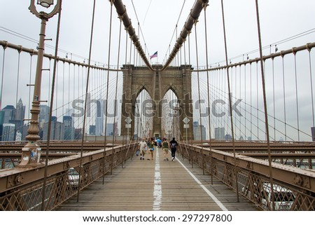 New York city, United States. July 09, 2015. Brooklyn Bridge in New York City, United States of America