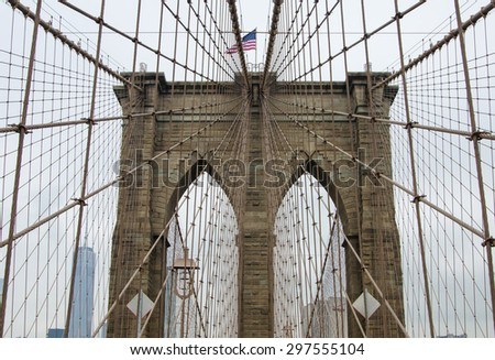 New York city, United States - July 9, 2015: Brooklyn Bridge in New York City, United States of America - stock photo