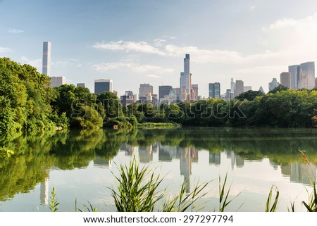 New York city, United States. July 07, 2015. Central park in New York in a foggy morning day - stock photo