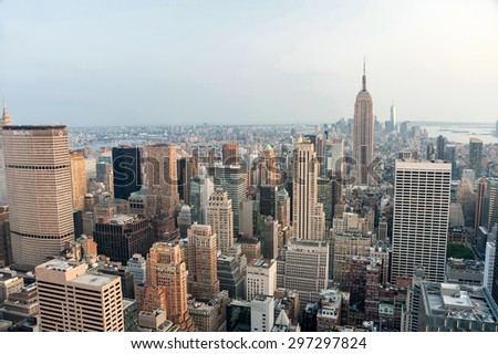 New York city, United States. July 07, 2015. Panoramic view of Manhattan skyline and buildings - stock photo