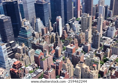 New York City, United States - Midtown Manhattan aerial view. - stock photo