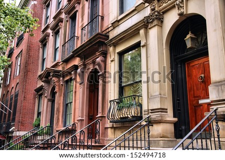 New York City, United States - old townhouses in Turtle Bay neighborhood in Midtown Manhattan - stock photo