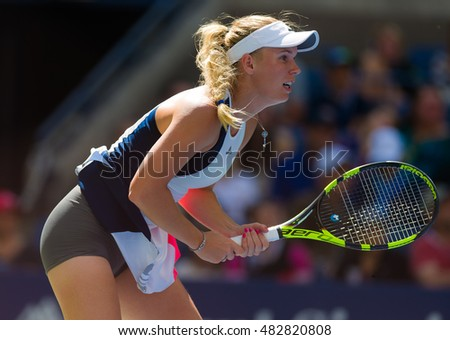 NEW YORK CITY, UNITED STATES - SEPTEMBER 4 : Caroline Wozniacki in action at the 2016 US Open Grand Slam tennis tournament