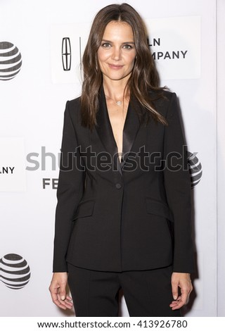 New York City, USA - April 15, 2016: Actress Katie Holmes attends the premiere of - All We Had - at John Zuccotti Theater during the 2016 Tribeca Film Festival - stock photo