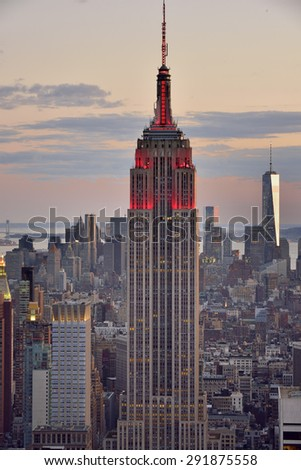 NEW YORK CITY, USA :?? April, 26. 2015 : Empire state building at sunset.  It is a 102-story landmark and American cultural icon in New York City.