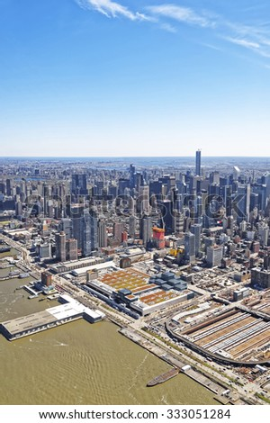 NEW YORK CITY, USA - APRIL 25, 2015: Lower Manhattan skyline, beautiful aerial view from helicopter  - stock photo