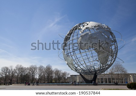 New York City, USA - April 20, 2014: The Unisphere in Flushing Meadows Corona Park in New York City.  - stock photo
