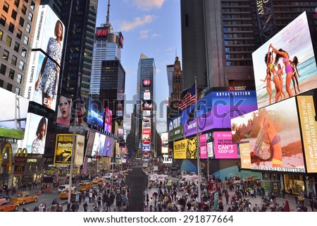NEW YORK CITY, USA- April, 28. 2015: Times Square, with Broadway Theaters and animated LED signs, is a symbol of New York City and the United States, , Manhattan, New York City.