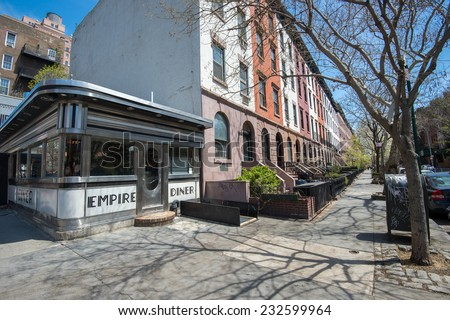 NEW YORK CITY, USA APRIL 25: Vintage diner at the corner of 10th Ave and W 22nd Street on April 24, 2014 in NYC. Empire Diner is famous as one of the locations in Woody Allens movie Manhattan - stock photo