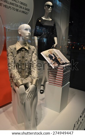 NEW YORK CITY, USA - APRIL 21, 2015: Window display at Saks Fifth Avenue in NYC on April 21, 2015.
