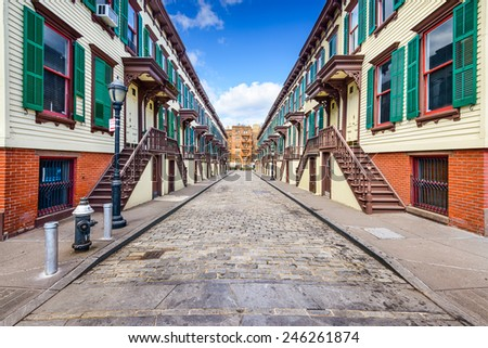 New York City, USA at rowhouses in the Jumel Terrace Historic District.  - stock photo