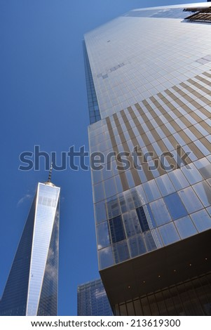 New York City, USA - August 24, 2014: View of the nearly completed World Trade Center Towers One and Four at Ground Zero in New York City.  - stock photo