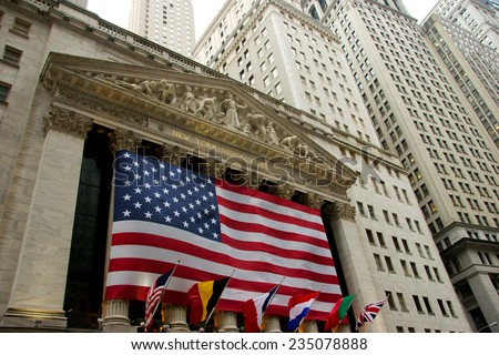 NEW YORK CITY, USA - CIRCA APRIL 2007: Wide view of New York Stock Exchange on Wall Street on a cloudy spring day