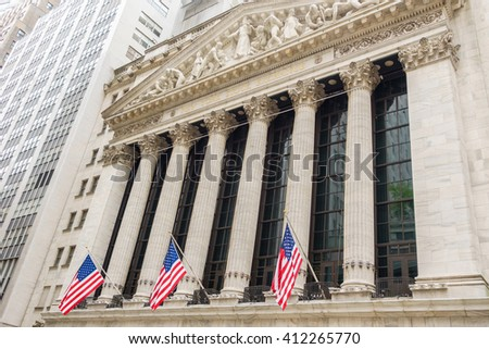 NEW YORK CITY, USA - CIRCA AUGUST 2015: The New York Stock Exchange on Wall Street is the largest stock exchange in the world. - stock photo
