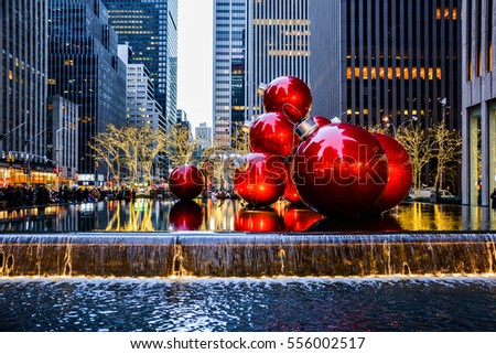 NEW YORK CITY, USA - CIRCA NOVEMBER, 2013: Giant red christmas baubles located on Sixth Avenue, Manhattan.