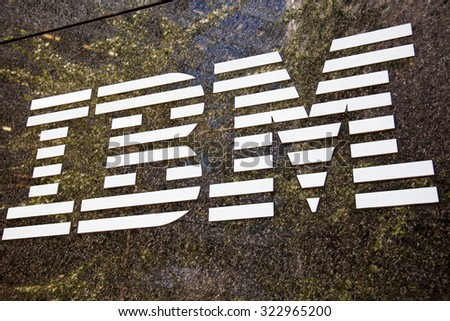 NEW YORK CITY, USA - CIRCA SEPTEMBER 2014: IBM brand name logo in New York City - stock photo