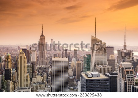 New York City, USA city skyline of midtown Manhattan. - stock photo