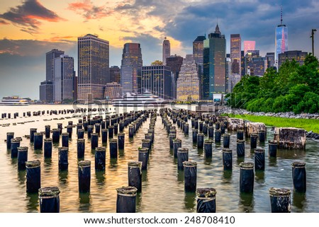 New York City, USA city skyline on the East River. - stock photo