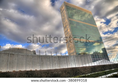 NEW YORK CITY, USA, FEB 5: Beautiful HDR image of the United Nations headquarters building in New York City, USA, Feb 5, 2016