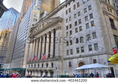 NEW YORK CITY, USA, FEB 6: Locals and tourists visiting Wall Street, New York Stock Exchange in Manhattan Finance district in high dynamic range (HDR) in NYC, Feb 6, 2016 - stock photo