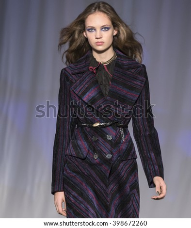 New York City, USA - February 13, 2016: Adrienne Juliger walks the runway during the Jill Stuart Women's show as a part of Fall 2016 New York Fashion Week - stock photo