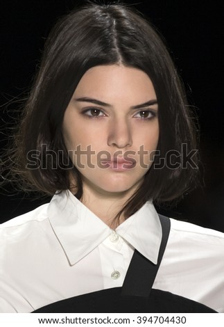 New York City, USA - February 16, 2016: Kendall Jenner walks the runway during the Vera Wang Women's show as a part of Fall 2016 New York Fashion Week - stock photo
