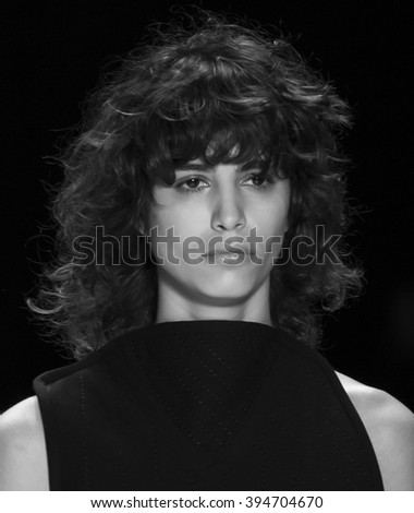 New York City, USA - February 16, 2016: Mica Arganaraz walks the runway during the Vera Wang Women's show as a part of Fall 2016 New York Fashion Week